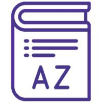Ilustração com um livro com as letras A e Z, para relacionar com o glossário da Lei Geral de Proteção de Dados Pessoais