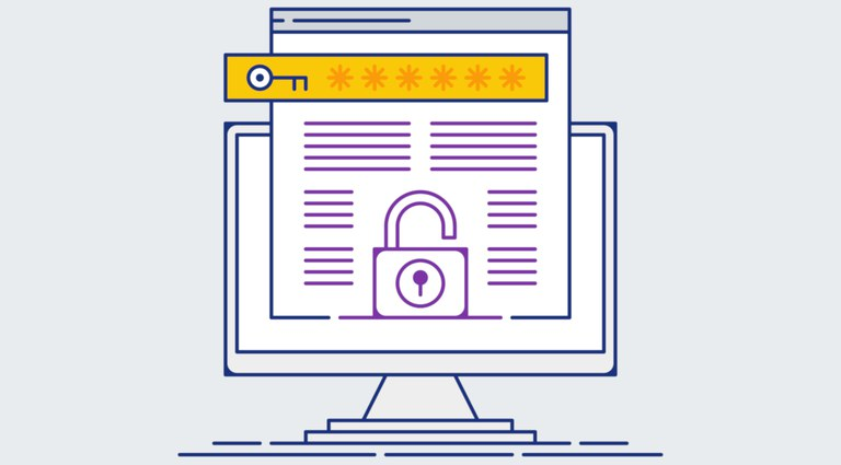 Ilustração com tela de computador e desenho de uma chave e de um cadeado, remetendo à segurança da informação e privacidade