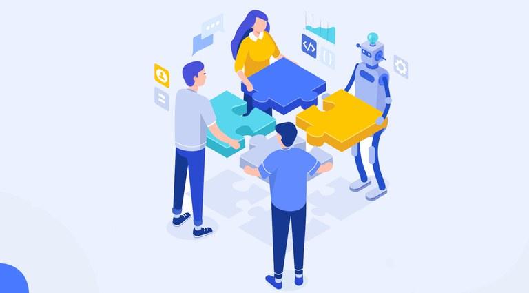 Ilustração com 3 pessoas e um robô montando um quebra cabeça de quatro peças