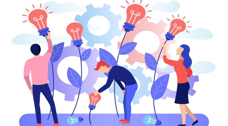 """Ilustração com pessoas ao lado de lâmpados e seus fios, como se esses estivessem """"crescendo"""", remetendo a novas ideias sendo criadas"""
