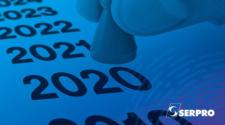Uma mão coloca um peão em cima do ano 2020 numa imagem que tem uma linha de anos, começando em 2019 até 2024. Sendo estes anos das extremidades cortados na imagem.