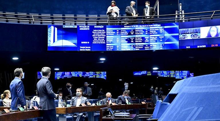 Imagem do plenário do Senado Federal durante sessão deliberativa semipresencial. Foto: Waldemir Barreto/Agência Senado