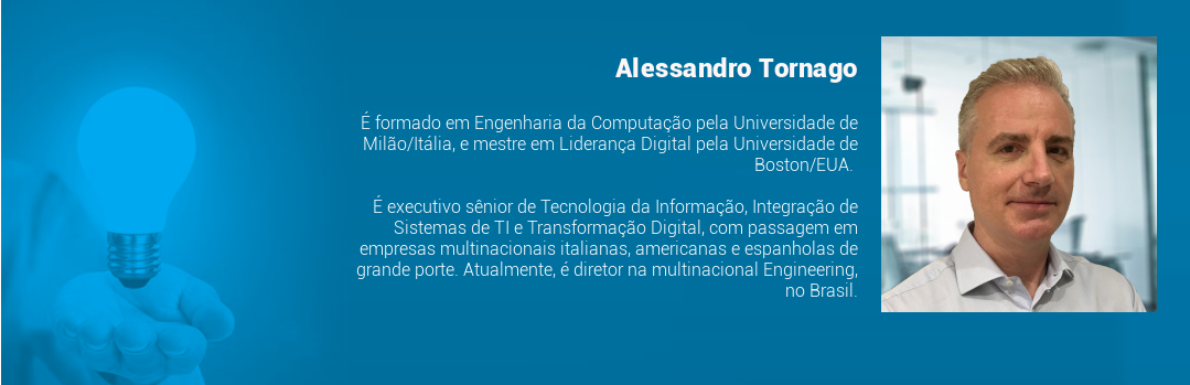 É formado em Engenharia da Computação pela Universidade de Milão/Itália, e mestre em Liderança Digital pela Universidade de Boston/EUA. É executivo sênior de Tecnologia da Informação, Integração de Sistemas de TI e Transformação Digital, com passagem em empresas multinacionais italianas, americanas e espanholas de grande porte. Atualmente, é diretor na multinacional Engineering, no Brasil.