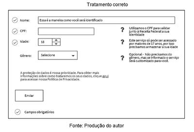 Imagem com exemplo de formulário web que atende à LGPD
