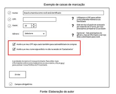 Imagem mostrando caixas de marcação não adequadas à LGPD