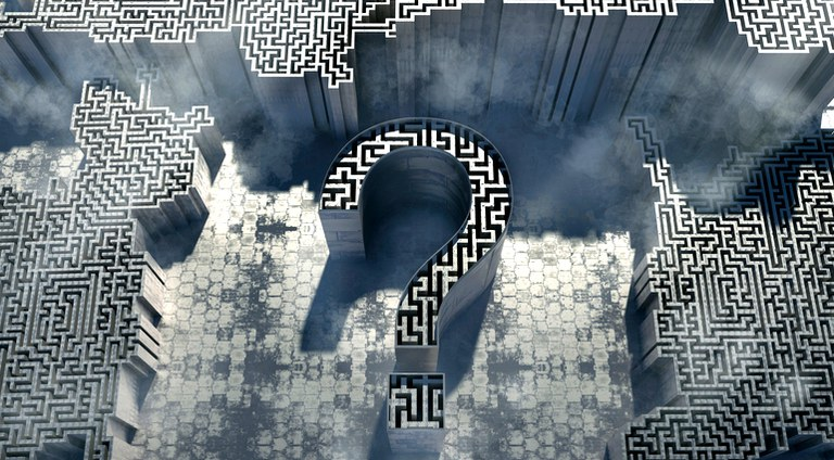 """Ilustração com símbolo de interrogação e """"labirinto"""""""