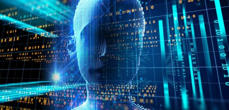 Imagem simbólica que remete à Inteligência Artificial: ilustração de um rosto de uma pessoa, envolvida por código binário
