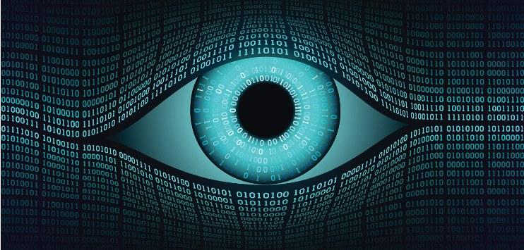 Ilustração de um olho feita a partir de zeros e uns, representando o poder de simulação do código binário