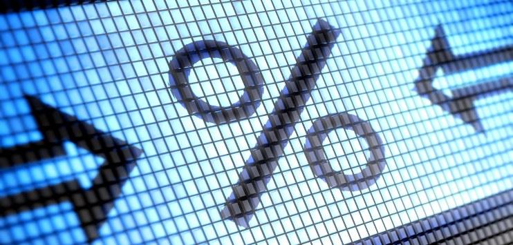Imagem ilustrativa com símbolo da porcentagem, mais uma seta, em cada lado, apontado para o símbolo