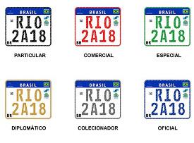 Imagem com as categorias da placa Mercosul para motos: particular; comercial; especial; diplomático, colecionador; e oficial.