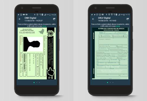 Ilustração da CNH Digital e do CRLV Digital