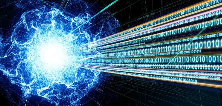 Imagem sugere fusão de linguagem binária e física quântica