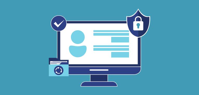 Ilustração de um monitor cercado de símbolos que remetem à segurança da informação