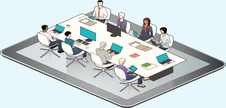 Imagem simbólica com um laptop e, acima dele, pessoas numa mesa de reunião, com computadores, etc. Imagem que remete à comunicação colaborativa