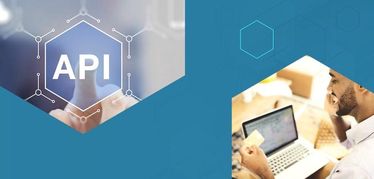 Ilustração traz ícone tradicional da API e foto de pessoa realizando transação com cartão de crédito via notebook