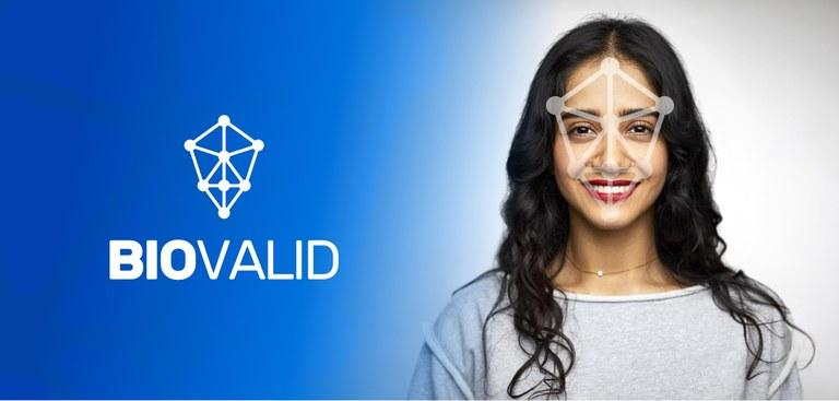 Marca Biovalid sobre o fundo azul do lado esquerdo e o do lado direito destaque para o rosto de uma mulher
