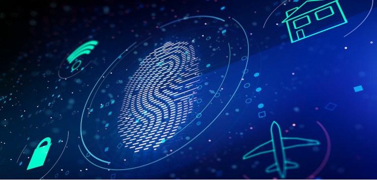 Ilustração com uma digital de um dedo humano, e ícones de um avião, uma casa, wi-fi e um cadeado, ao redor dessa digital
