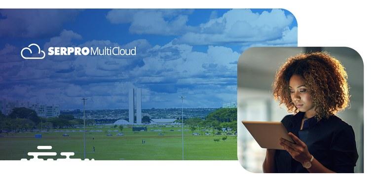 Em primeiro plano, à direita, uma mulher observa atentamente um tablete. Ao fundo, imagem da Esplanada dos Ministérios, em foto que privilegia grande porção do céu de Brasília.