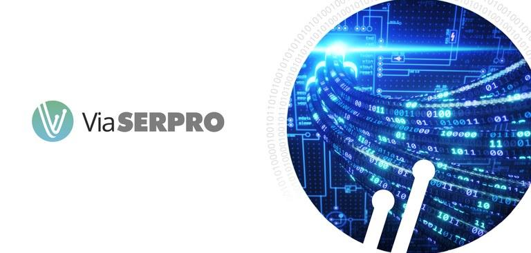 imagem destaca detalhe que simula fluxo rápido de informações com o texto Via Serpro