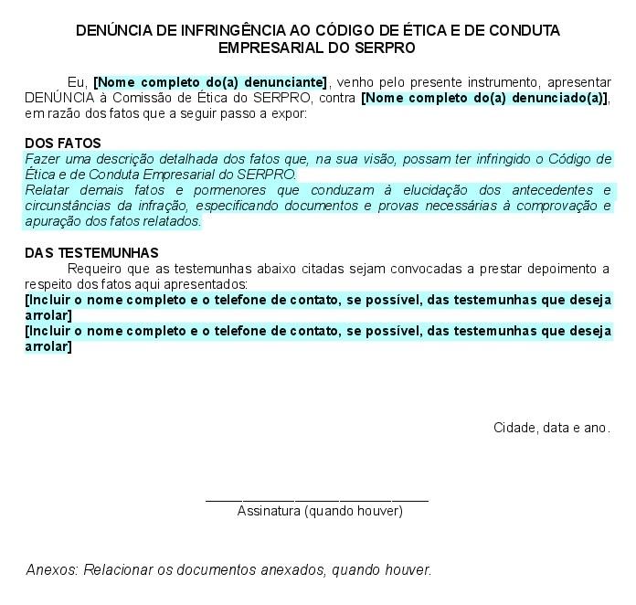 Exemplo denúncia CES